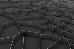Abstract brushed metal 3d voronoi grate on black background Stock Image