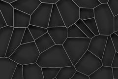 Abstract brushed metal 3d voronoi grate on black background Stock Photos