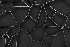 Abstract brushed metal 3d voronoi grate on black background Royalty Free Stock Images