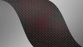 Abstract Brushed Silver Metal on Grey and Red Hexagonal Metal Mesh Background. Abstract brushed silver on seamless grey hexagonal metal texture in red and black stock photo