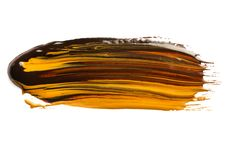 Abstract brushstroke of mixed color paint on white stock photography