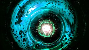 Abstract bubbles in water like in space against turquoise background, liquid surface. Abstract bubbles in water like in space against green lime background, or stock video