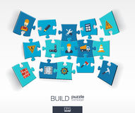 Abstract build background with connected color puzzles, integrated flat icons. 3d infographic concept with industry, Construction Royalty Free Stock Image