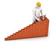 Abstract builder places a brick Royalty Free Stock Photography