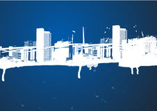 Cityscape in white and blue. Illustration of cityscape with high rise buildings,  skyscrapers, offices and apartments in blue and white,  blue background Stock Photography