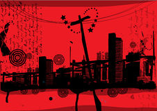 Power lines and city skyline illustration. Black illustration of city high rise skyline with power lines on red with text Royalty Free Stock Image