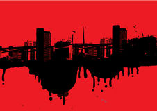 Grunge city skyline. A grunge style illustration of a city skyline in red and black Stock Image