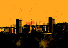 Grunge city skyline. A general grunge city skyline design with a yellow overlay Royalty Free Stock Image