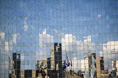 Abstract building background. / blue, glass, reflection, city stock photography