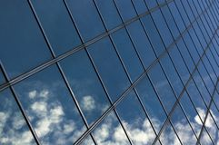 Abstract building background /. Reflection on the blue glass stock image
