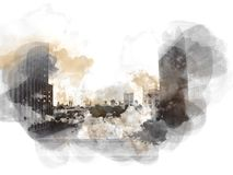 Abstract Building in the city on watercolor painting background. Abstract building in the capital city on watercolor painting background. City on Digital royalty free illustration