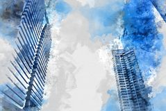 Abstract building in the city watercolor painting. Abstract Building on watercolor painting background. City on Digital illustration brush to art stock illustration