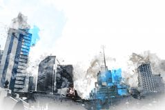 Abstract Building in the city on watercolor painting background. City on Digital illustration brush to art stock illustration