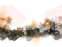 Abstract Building in the city on watercolor painting background. Abstract building in the capital city on watercolor painting background. City on Digital stock illustration