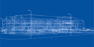 Abstract building. 3d illustration. Abstract building on blue background. 3d illustration. Wire-frame style Vector Illustration
