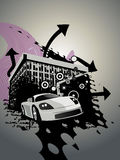 Abstract building design with car Stock Photography