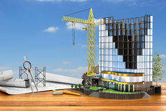 Abstract of building development concept. Abstract 3d of building development concept. Office building in process of construction. 3d illustration stock illustration