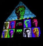 Abstract building facade - Bella Skyway Festival - International Light Festival in Torun. Poland royalty free stock images