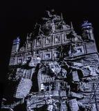 Abstract building facade - Bella Skyway Festival - International Light Festival in Torun. Poland royalty free stock photo