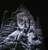 Abstract building facade - Bella Skyway Festival - International Light Festival in Torun. Poland royalty free stock photos