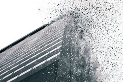 Abstract building simulated explosion stock photo