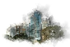 Abstract Building in the city on watercolor painting background. Abstract Building on watercolor painting background. City on Digital illustration brush to art vector illustration