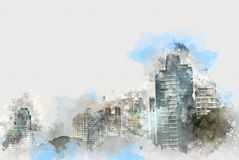 Abstract Building in the city on watercolor painting background. Abstract Building on watercolor painting background. City on Digital illustration brush to art stock illustration