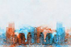 Abstract Building in the city on watercolor painting background. Abstract Building on watercolor painting background. City on Digital illustration brush to art royalty free illustration
