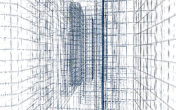 Abstract building wireframe Royalty Free Stock Photography
