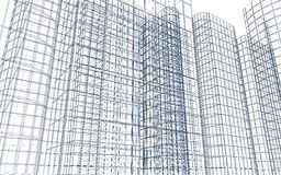 Abstract building wireframe Royalty Free Stock Images