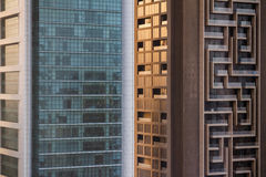 Abstract Buildings that View from Above in Sheikh Zayed Road, Dubai Royalty Free Stock Photography