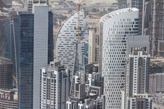Abstract Buildings that View from Above in Sheikh Zayed Road, Dubai Stock Photography