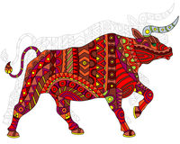 Abstract bull, and painted its outline on white background , isolate Royalty Free Stock Photography