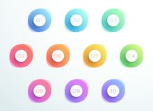 Abstract Bullet Point 3d Circles Number 1 to 10 Vector. 3d, colorful bullet point 1 to 10 infographic with transparent gradient, abstract circles and editable Royalty Free Stock Photography