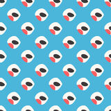 Abstract bullfinch seamless pattern. Beige birds with a red breast on a blue background. Nice and simple Stock Photography