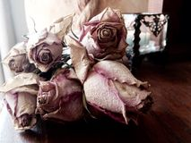 Abstract bunch dead dried pink roses concept death,loss,grief. An abstract conceptual image of a bunch of dead dried pink roses or rose buds with a lit candle in Royalty Free Stock Images