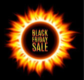 Abstract burning fire circle. Black friday sale. Royalty Free Stock Photo