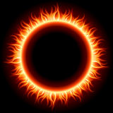 Abstract burning fire circle top view Stock Images