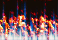 Abstract burning waveform fire. With flash Stock Photography