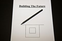 Abstract: Busines strategy for the future. Planning for business; Building the Future; white paper, pencils Stock Image