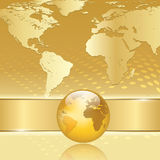 Abstract business background with earth map. Abstract gold business background with earth map Stock Photos