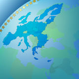 Abstract business background europe map. Abstract business blue background with europe map Royalty Free Stock Photography
