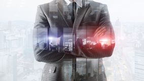 Abstract business background a man. people work in the office. City office background. stock photography
