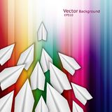 Abstract business background. With paper airplanes and rainbow stripes royalty free illustration