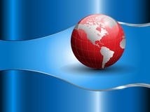Abstract business background with world globe. Blue and red Stock Photos