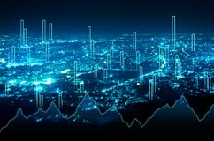 Abstract business bar graph on night city background.  Stock Images