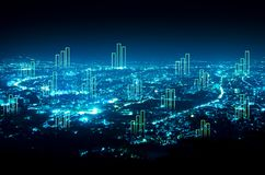 Abstract business bar graph on night city background.  Stock Image