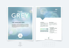 Abstract business brochure, flyer and cover design layout template with blue and grey blurred background and light spots. Vector vector illustration