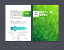 Abstract business brochure, flyer and cover design layout template with green eco polygonal background. Vector illustration. royalty free illustration