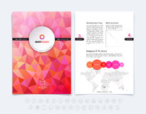 Abstract business brochure, flyer and cover design layout template with red and pink polygonal background. Vector illustration. vector illustration